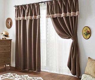 フリンジ付遮光カーテン(100×178・2枚組)