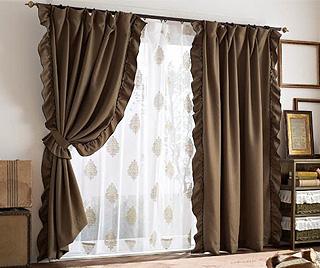 フリル遮光カーテン(100×178・2枚組)