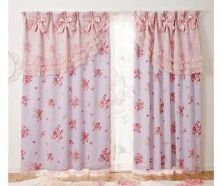 ローズリボン遮光カーテン(100×178・2枚組)