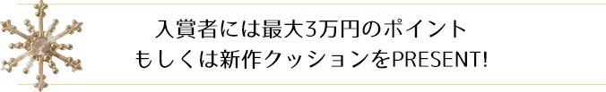入賞者には最大3万円のポイントもしくは新作クッションをPRESENT!
