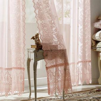 【オーダー】クラシカルレースカーテンA5(ピンク・幅100cm×丈200〜218cm・2枚組)
